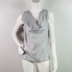 WHBM Top Silver Sequins Size M Waterfall Neck